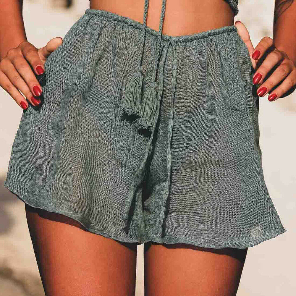 One Size Womens Solid Color Shorts Summer Sexy Hot Shorts Casual High Waist Bandage Line Loose Shorts Ladies Beach Clothing