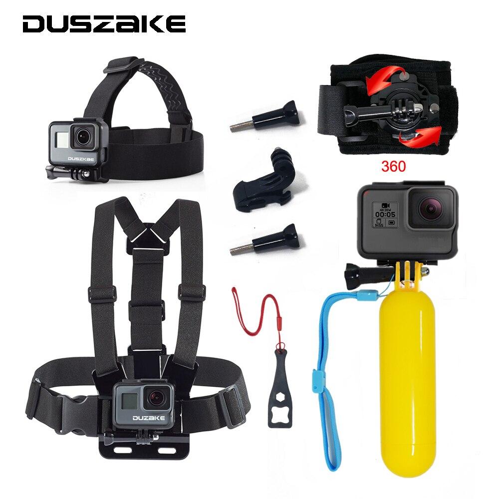 DUSZAKE DG12 Kit For Gopro Hero 5 Mount For Gopro Accessories Strap For Gopro Hero 5 Xiaomi Yi 4K Selfie Stick For Eken H9 SJCAM high precision cnc aluminum alloy lens strap ring for gopro hero 3 red