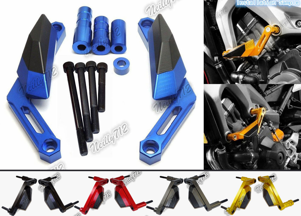 Motorcycle Left & Right Engine Cover Crash Pads Frame Sliders Protector For Yamaha MT-09 MT09 FZ09 FZ-09 2014 2015 2016 engine bumper guard crash bars protector steel for yamaha mt09 mt 09 fz07 fz 09 2014 2016 2014 2015 2016 motorcycle