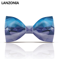 Lanzonia Stylish Novelty Patterned Bow Tie For Men Patchwork Print Cool Bowtie Women Fashion Unique Designer Neckwear