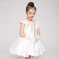 2016 Summer Evening Dress Princess Party Dresses Girls Fluffy Wedding Dress Girls Flutter Sleeves Birthday Dress