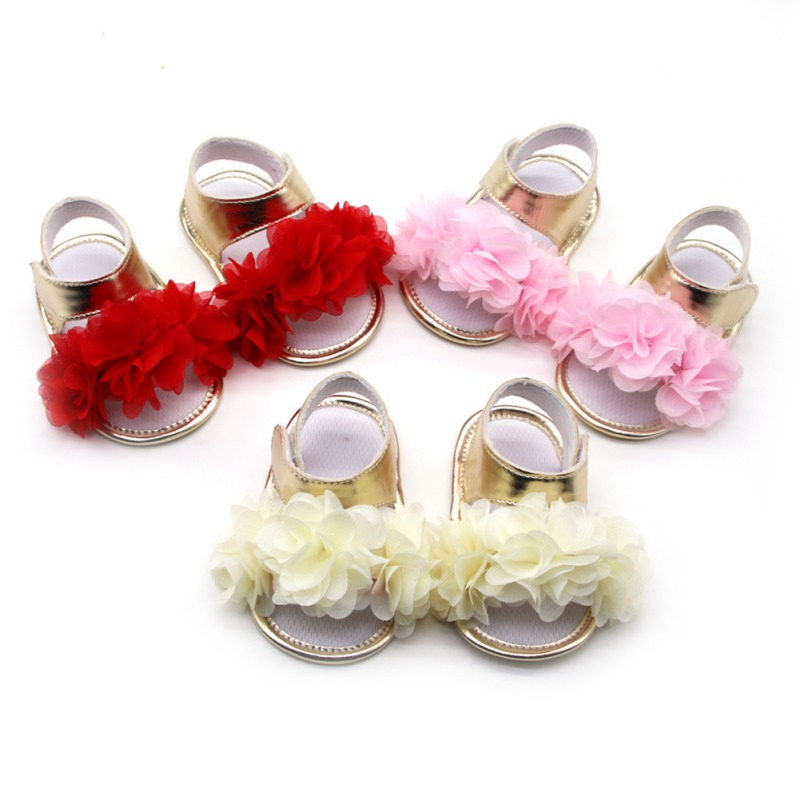 2019 New Summer Girls Silk Flower Design Gold PU Sandals Breathable Anti-Slip Shoes Soft Soled Shoes Sandals