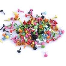 100 шт микс разноцветных круглых металлических шипов Brads украшение застежка Brads металлические шипы ремесла DIY и шипы cp1114