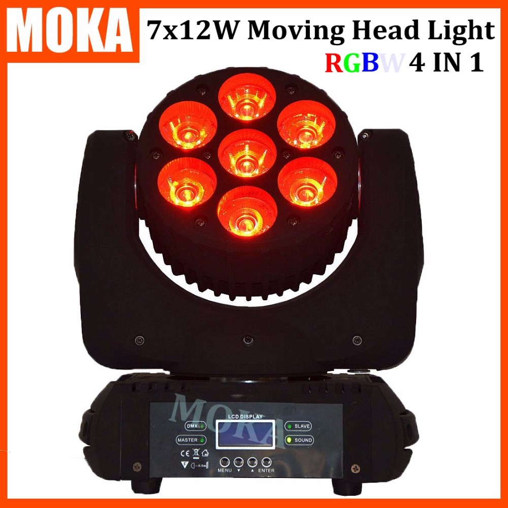 1 pcs/lot 7x12W RGBW 4in1 LED moving head Beam light led spot lights dmx 512 High Power moving head light with Cree lamp 6pcs lot good quality 7 12w mini rgbw led moving head light laser christmas party lights 12 months warranty