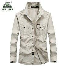 AFS JEEP 2017 Большие размеры M-6XL Европе мужская осень военные качества Повседневная брендовая рубашка с длинным рукавом Весна человек 100% хлопок рубашки