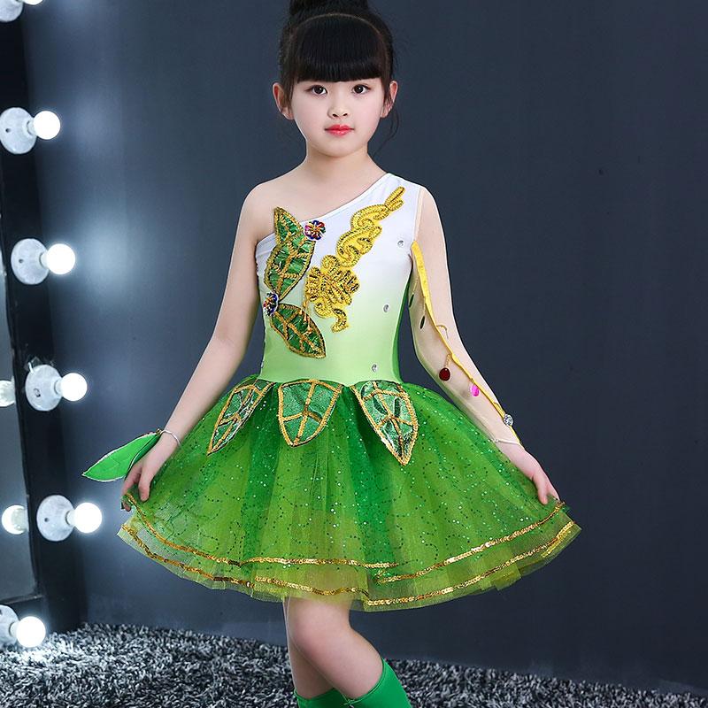 Children's Chorus Suits Small Lotus Style Grass Costumes Jasmine Dance Dress Princess Dress Children's Pettiskirt Skirt