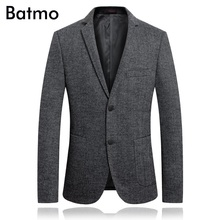 Batmo 2018 new arrival high quality wool casual gray blazer men,men's casual jackets ,men's suits plus-size 1860