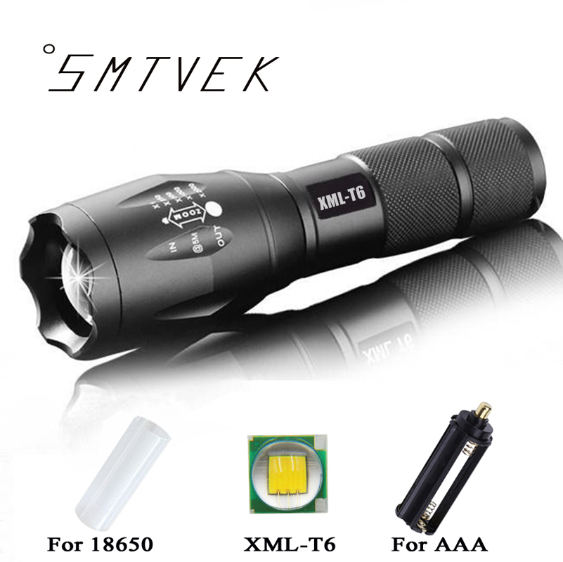 E17 3800 Lumens XM-L T6 Cree LED Flashlight Torch Zoomable Waterproof 5 Modes Tactical Flashlight Light Outdoor For 18650 or aaa 3000 lumens zoomable cree xm l t6 led tactical flashlight torch zoom lamp light waterproof led 5 modes for 1x18650 3xaaa