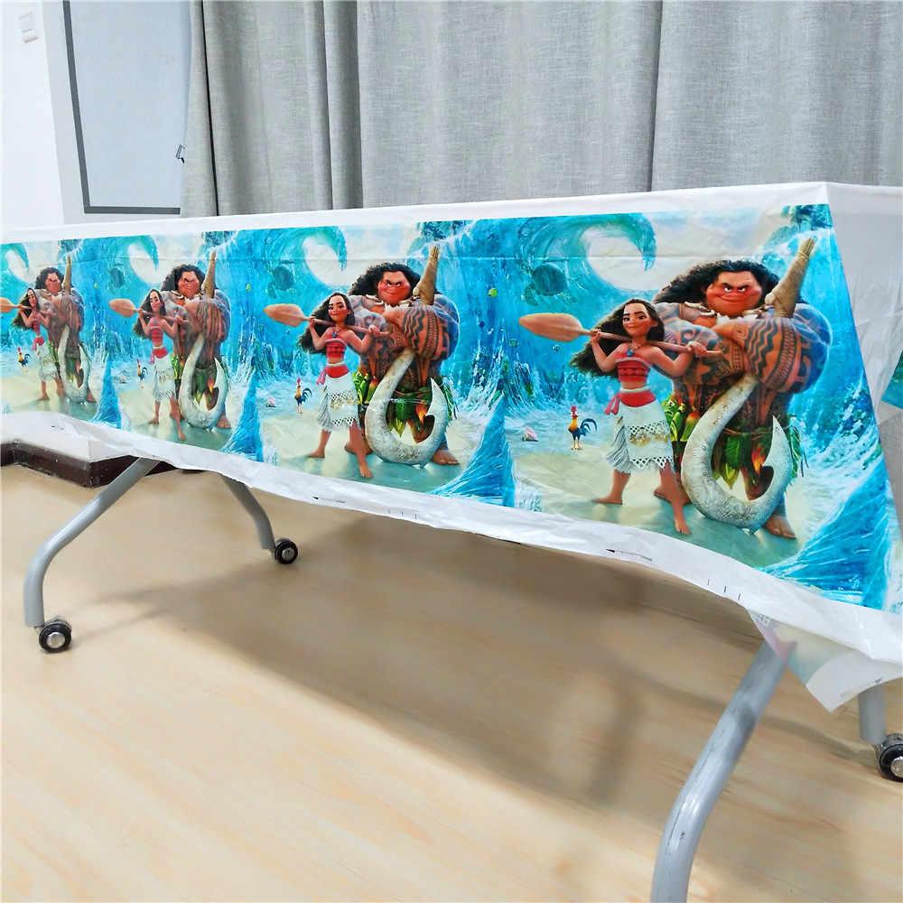 Moana Party อุปกรณ์ตกแต่งเด็กบนโต๊ะอาหารผ้าปูโต๊ะแผ่นถ้วยหมวกแบนเนอร์ Gilr Baby Shower Theme ของขวัญโปรดปราน