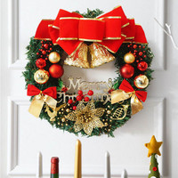 2017 Merry Christmas Wreath Bell Ball Bow Pine Needle Xmas Tree Decoration For Home Door Wall
