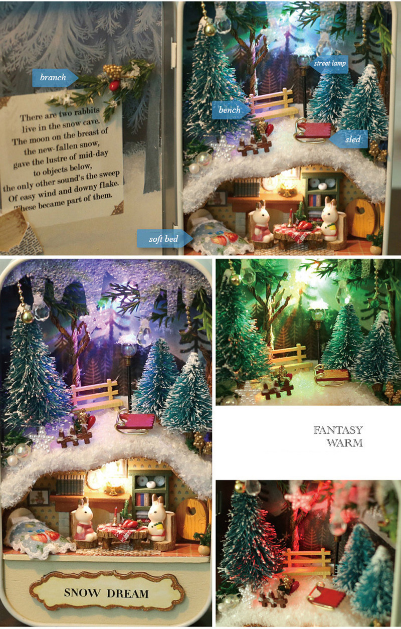 Snow Dream Doll House 3D DIY Miniature Wooden Puzzle Dollhouse Mini Furniture Decoration Toy for Kid Birthday Gift Box Theatre (2)
