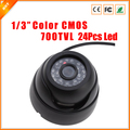 "Free Shipping 1/4"" Wide Angle 700 TVL 24Pcs IR LED Color Indoor Dome CCTV Security Camera CMOS Security Camera"