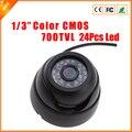 """O Envio gratuito de 1/4 """"Wide Angle 700 TVL 24 Pcs IR LED Color Indoor Dome Câmera de Segurança CCTV CMOS de Segurança câmera"""