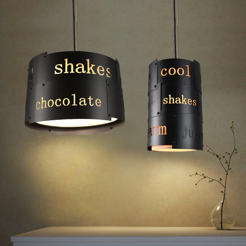 Ретро промышленный Лофт черный металлический подвесной светильник винтажный креативный английский буквенный Бар Кафе подвесной светильник освещение PL628