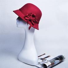 Elegant Women Round Bowler Cap Imitation Wool Bowknot Fedoras Cotton Church Cloche Bucket Hat Vintage Brim Chapeu Feminino YG613