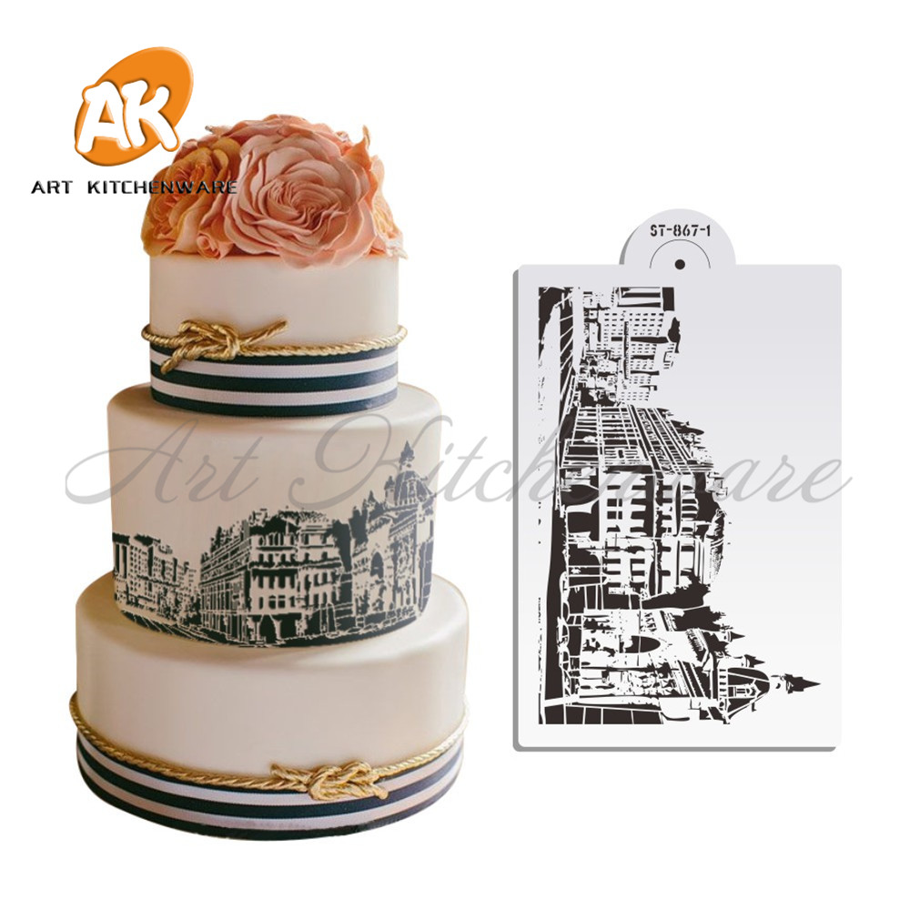 New Mexico Style Building Stencil Wedding Designs Cake StencilCity Cucoloris Plastic Fondant Decorating Tools ST 867 1