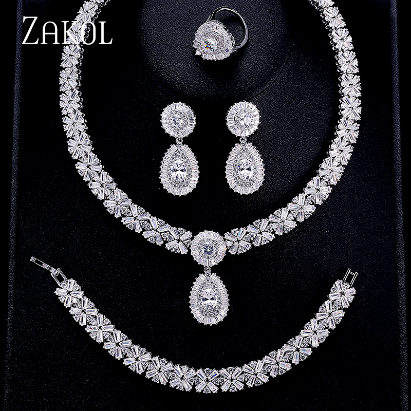 ZAKOL Luxury Zircon Bridal Wedding Jewelry Sets Exquisite Zirconia Necklace/ Earrings/ Ring/ Bracelet Full Set For Women FSSP312 a suit of gorgeous rhinestoned flower necklace bracelet earrings and ring for women