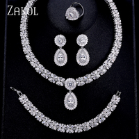 ZAKOL Luxury Zircon Bridal Wedding Jewelry Sets Exquisite Zirconia Necklace/ Earrings/ Ring/ Bracelet Full Set For Women FSSP312