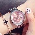 2017 gimto marca señoras de la manera de las mujeres relojes casual reloj de cuarzo vestido de las mujeres relojes de oro rosa de acero inoxidable relogio montre