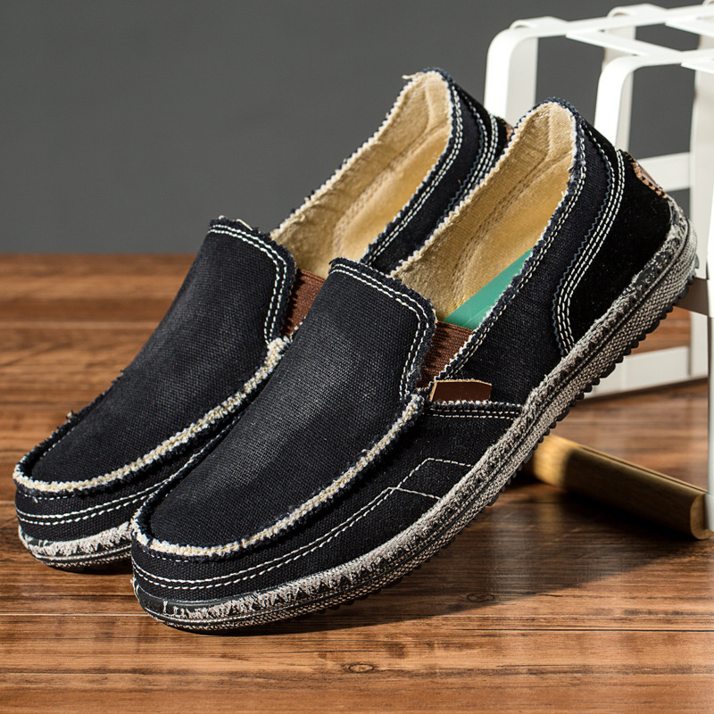 Summer 2019 New Korean Version Of Leisure Low help Breathable Sweat absorbing Men 39 s flat massage Canvas Shoes Black loafers in Men 39 s Casual Shoes from Shoes