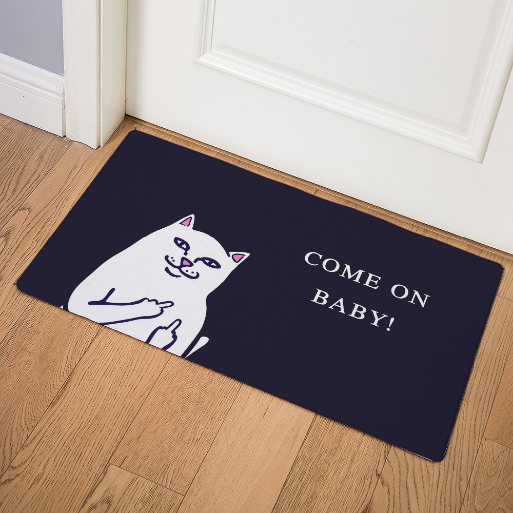 Image 5 - Cartoon Animal Cat Go Away Printing Doormat Home Decoration Non slip Floor Mat Cat Door Mat  Tapis de bain felpudo PU-in Mat from Home & Garden