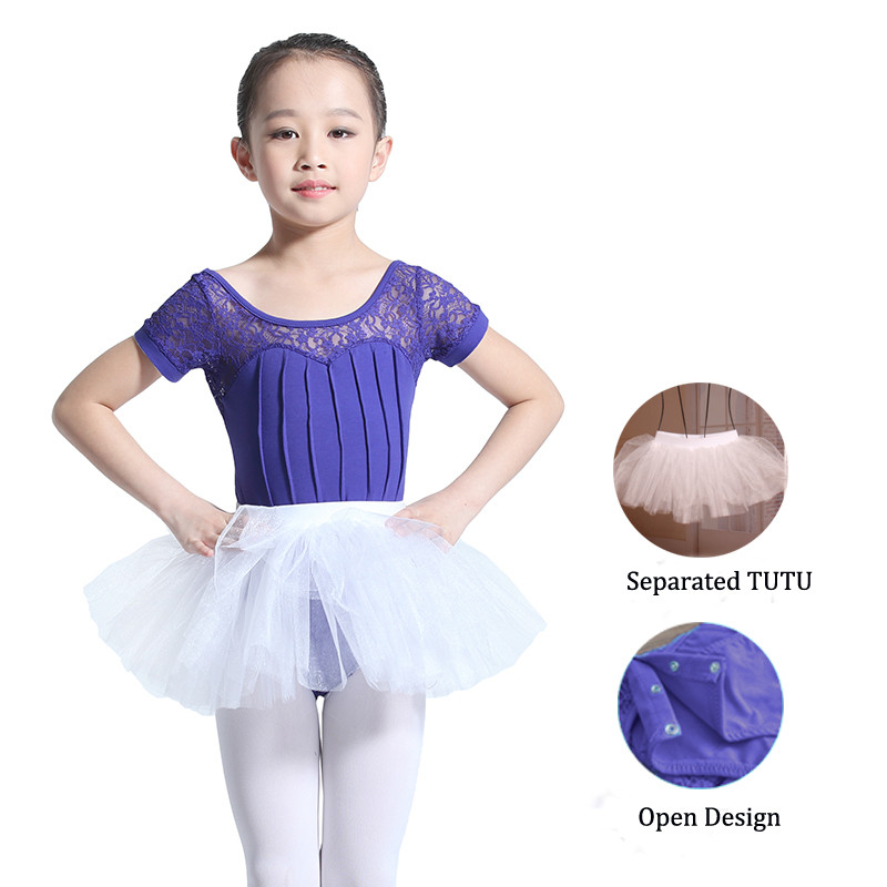 0841b5953 Lace Half Sleeved Dancing Dress Kids Classical Ballet Leotard Adults ...