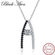 [BLACK AWN] 925 пробы серебряные ювелирные изделия модные обручальные ожерелья для женщин форма свадебные Подвески P010