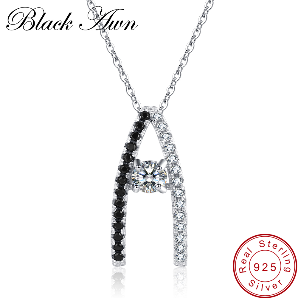 [BLACK AWN] 925 Sterling Sølv Fine Smykker Trendy Engagement Necklaces for Women Shape A Wedding Pendants P010