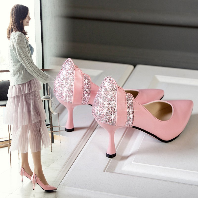 Fashion Pumps Woman Glitter Gorgeous Wedding Bridal Evening Party Crystal High Heels Women Shoes Sexy Woman Pumps Bridal Shoes women s fashion gold lace dinner evening party pumps shoes plus sizes low high heels custom made bridal wedding shoes