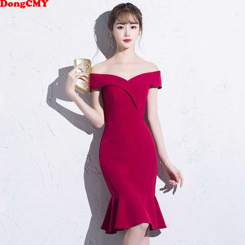 108321ea65205 DongCMY Short Burgundy Prom dresses 2019 new arrival fashion Sexy Mermaid  Party Women Performance Dress