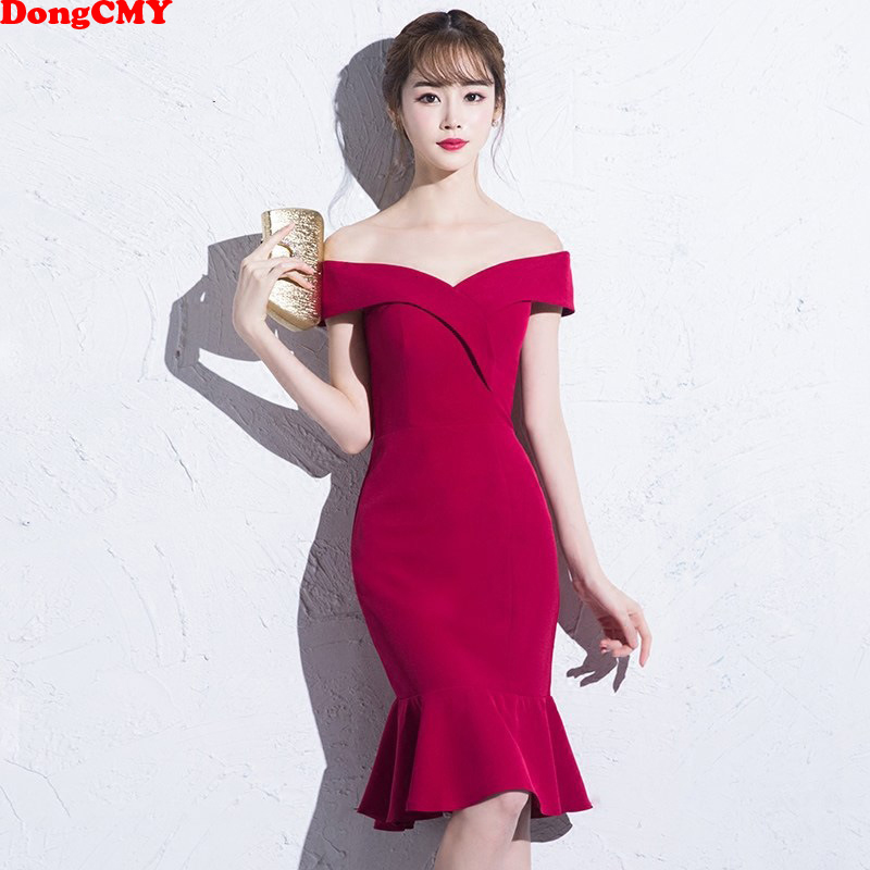 DongCMY Short Burgundy   Prom     dresses   2019 new arrival fashion Sexy Mermaid Party Women Performance   Dress