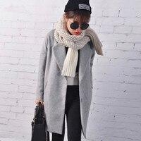 Loose Winter Coat Women Casaco Feminino Wool Coat Female Wool Blends Trench Blazers Gray Black Red
