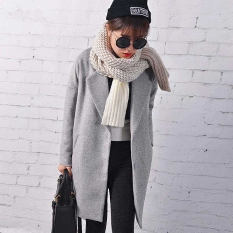 2017 New Winter 50% Wool Coat Women Thicken Warm Loose casaco feminio Wool & Blends Coats Jacket Gray Black Red J14DD0215