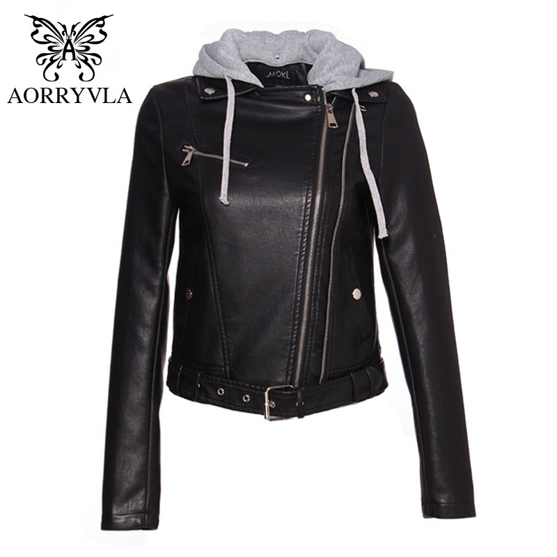 AORRYVLA Brand PU Leather Jacket Women s Hooded Jacket Black Motorcycle Coat Zipper Belt Short Length