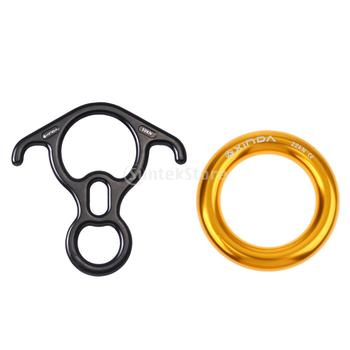 50KN Rock Climbing 8 Rope Descender 22KN Rappel Ring Bail Out Connector Tree Rigging Hammock