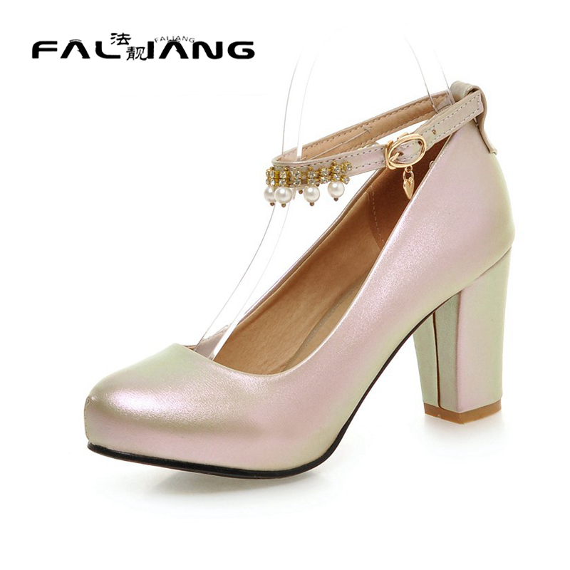 ФОТО Big Size 11 12 Sexy String Bead Buckle Casual Square heel Women's Shoes High Heels Pumps Woman For Women Platform Shoes