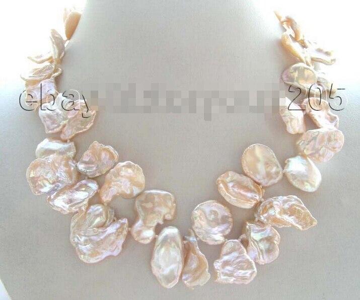 free shipping >>Natural 25mm Pink Reborn Keshi Petal Pearl Necklace