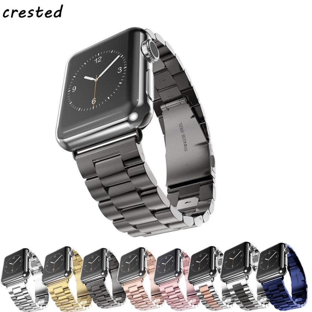 CRESTED Sport Band Für Apple Uhrenarmband 38mm 42mm Iwatch 3 2 1 Edelstahl Handgelenk band Link armband Uhrenarmband-bügel