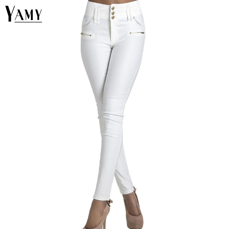 Autumn 2017 new Skinny High Waist Jeans Female white buttons long Pencil Pants women Elastic slim Denim Jeans Trousers new women s vintage ripped high waist jeans pencil stretch denim pants female slim skinny trousers autumn winterjeans