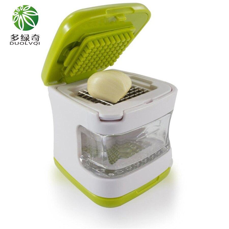 Lames d'acier inoxydable de presse d'ail de DUOLVQI, plateau en plastique clair intégré outils de Cuisine accessoires Gadgets de Cuisine trancheuse d'ail