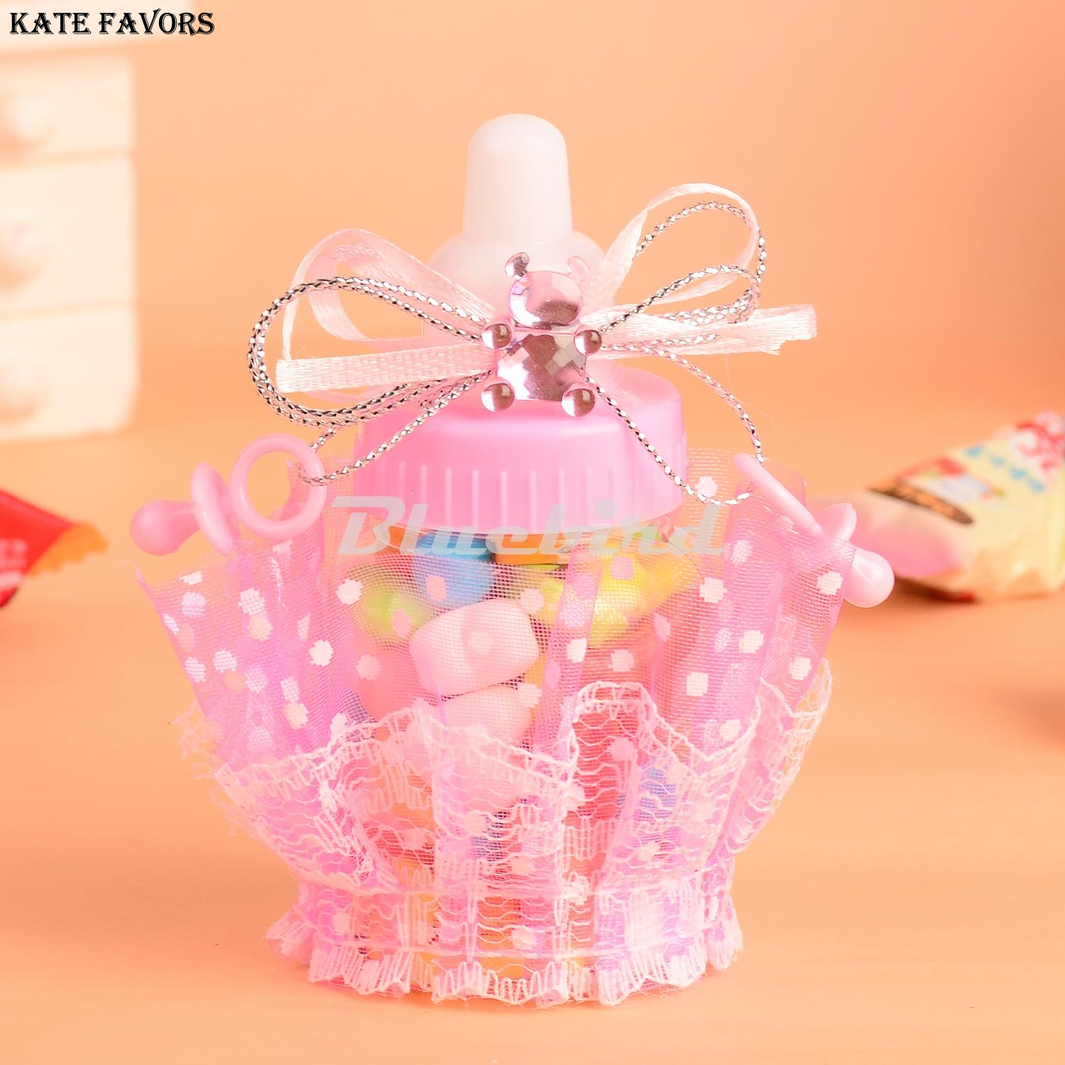 12PCS Pink/Blue Baby Shower Candy Bottle Baptism Christening ...