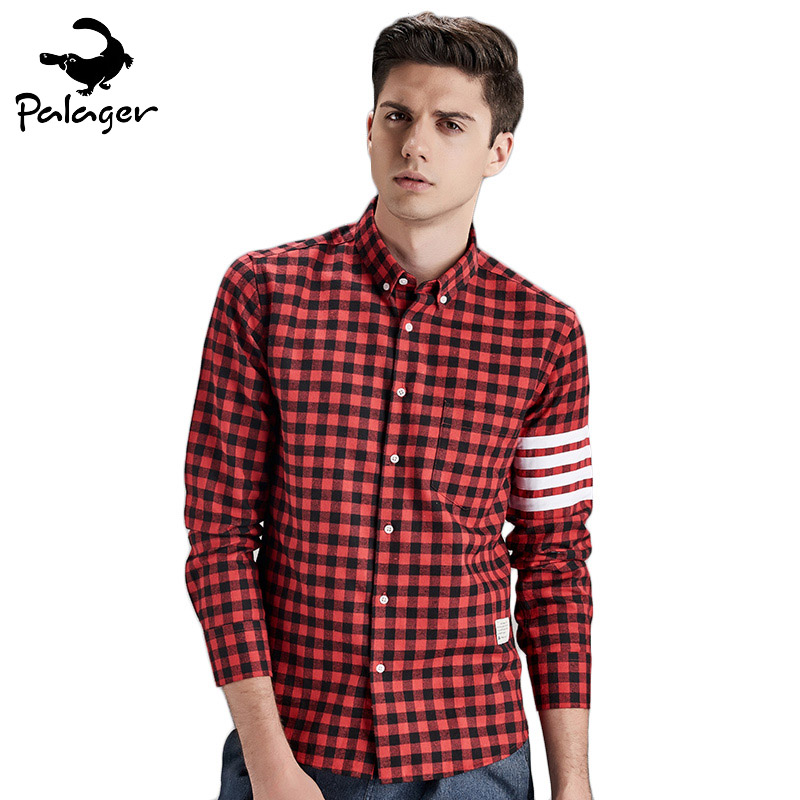 Palager Men Plaid Shirts Slim Fit Long Sleeve Black Red Checkered Shirts Men 2017 Autumn Fashion Male Checked Shirts Styles 1855