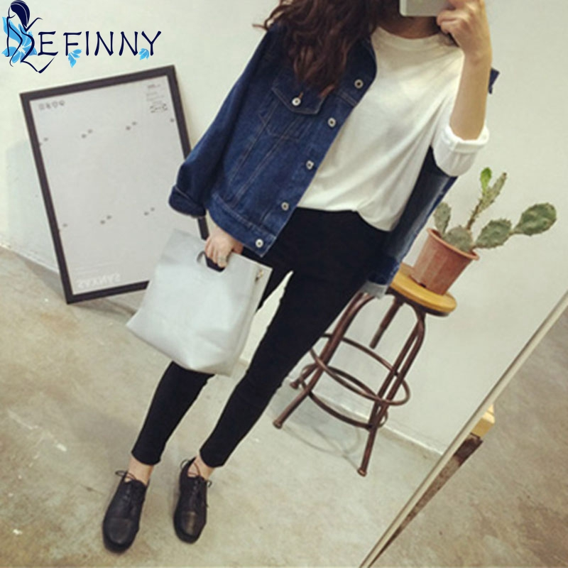 2018 New Autumn Fashion Lady   Jackets   Women Denim Long Sleeve   Basic     Jackets   Casual Female Blue Jean   Jackets   Coats Outerwear