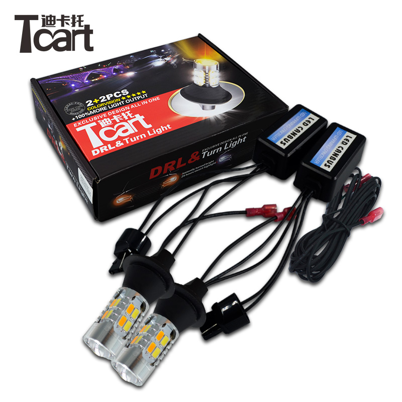 Tcart 1Set Car DRL Daytime Running Lights Turn Signals T20 WY21W White+Golden Lamps Auto ...