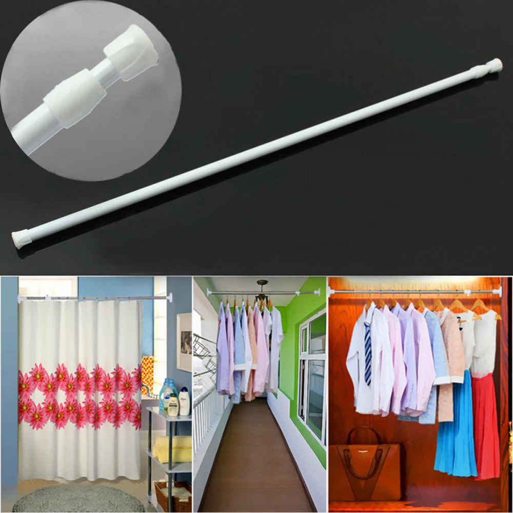 NEW Useful Extendable Spring Telescopic Net Voile Tension Curtain Rail Loaded Pole Rod Adjustable