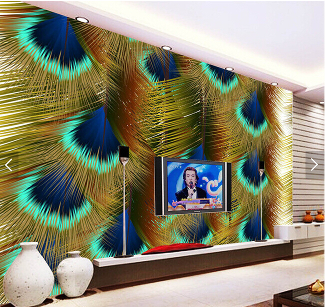 Custom photo wallpaper, Peacock feather,3D modern wallpaper mural for living room bedroom kitchen background wall PVC wallpaper