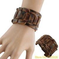 Retro Weave Genuine Leather Belt Men's Bangle Snaps Fastener Cuff Bracelet 4TA3