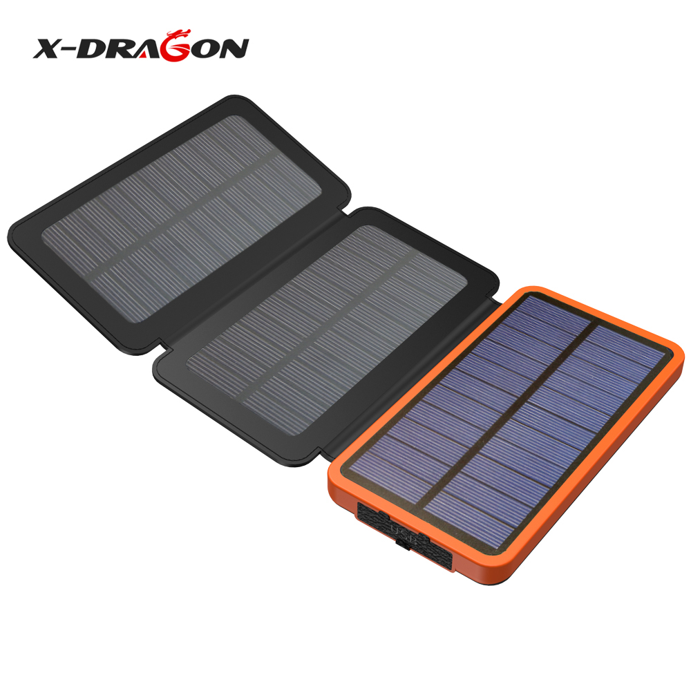 X-DRAGON Foldable Solar Panel 10000mAh Solar Power Bank Charger for iPhone iPad Samsung HTC Huawei Xiaomi HTC Coolpad One Plus.