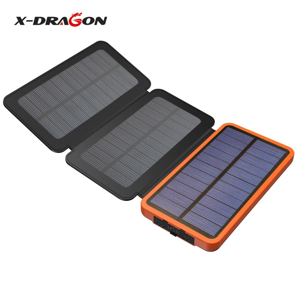 X-DRAGON Solar Power Bank 10000 mah Outdoor Solar Ladegerät Externe Batterie für iPhone Samsung xiaomi Handys