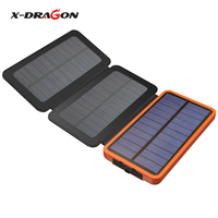 X DRAGON Solar Power Bank 10000mAh Outdoor Solar Charger External Battery for iPhone Samsung xiaomi Cell Phones
